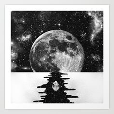 Endless journey by Zach Terrell. Illustration, digital, black and white, monochrome, space, moon, astronaut, boat. Collect your choice of gallery quality Giclée, or fine art prints custom trimmed by hand in a variety of sizes with a white border for framing.