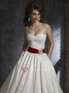 red and silver wedding dress sash | ... Straps With Red Sash Cheap Customer-Made Design Colored Wedding Gown