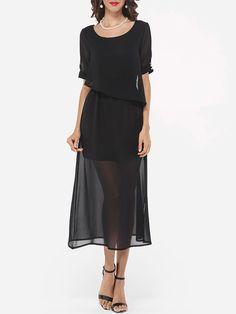 Round Neck Chiffon Seethrough Maxi Dress - fashionme.com