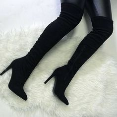 """Thigh High Boots *BRAND NEW* MUST HAVE over the knee boots w a sleek pointed toe! Shoe Height: 26"""" Heel Height: 4.5"""" Calf Measurement: 14"""" Unstretched Thigh Width: 20.5"""" Platform Height: 0.25"""" Ankle Measurement: 10"""" *BRAND NEW WITH BOX* Shoes"""