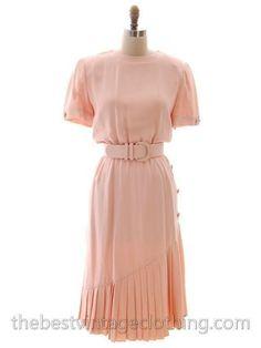 Vintage Bill Blass Dress Peach Pink Silk Huge 1980s Shoulders Sz 10