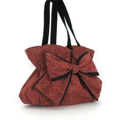 Bow handbag purse , Ultra suede handmade bow bag in rust and black , Vegan gathered handbag