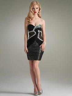 Short Strapless Black Sequin Detail Dress with Natural Waistline