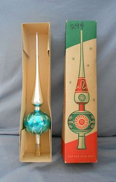 1940s Very Early Vintage Shiny Brite Germany Mercury Glass Tree Topper in Original Box!