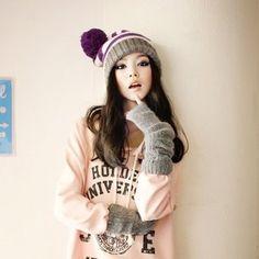 Korean Asian Girl with Long Hairstyle - Nails C Vicks Vaporub, Cute Fashion, Asian Fashion, Japanese Fashion, Girl Fashion, Hair Styles 2014, Long Hair Styles, Korean Girl, Asian Girl