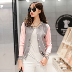 2015 new spring campaign hit color stitching small collar long-sleeved knit jacket A085F USD$25.87