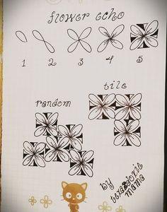 Flower Echo - Step by Step Zentangle Pattern Zentangle Drawings, Doodles Zentangles, Doodle Drawings, Doodle Patterns, Doodle Designs, Zentangle Patterns, Doodle Borders, Tangle Doodle, Zen Doodle