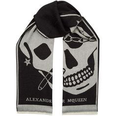 Alexander McQueen Punk Wool Scarf ($190) ❤ liked on Polyvore featuring accessories, scarves, skull scarves, wool shawl, wool scarves, woolen scarves and woolen shawl