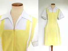 1970s Waitress Uniform Diner Dress Yellow White