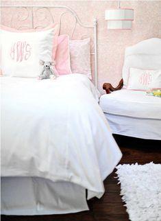 White Bedding Set with Pink Trim