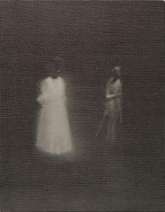 """Jānis Avotiņš - Untitled 2011, Oil on canvas,46 x 36 cm """"Two gossamer-like female figures – another solemn and almost faceless pair – appear to be walking out of a background of darkness. Their poses, soft silhouettes and the bright illumination on their bodies recall the long-exposure and bleached out feel of early photography, so often showing shapes similarly eked out of an enveloping darkness. They are beautiful, bleak and memorable, all at once."""""""