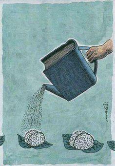 "Leggere fa bene al cervello. (Italian ""Reading is good for the brain. Nuture the brain with good books. Reading benefits the brain. Left brain is smaller then the right. I Love Books, Books To Read, Ya Books, Free Books, Book Nooks, Love Reading, Reading Books, Reading Art, Reading Cartoon"