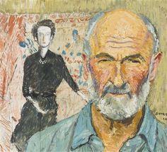 Hans Berger - A l'atelier, 1952 - Huile sur papier sur carton, 41 x 46 cm. Artist, Atelier, Artists