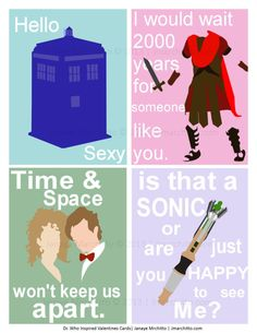 Set of 4 Dr Who Valentines Cards Ready to Ship  Includes: Dr Who & River,Rory, Tardis, Sonic Screwdriver. $8.00, via Etsy.