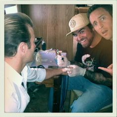 Tattoo time.  Funny pic of Alex o and Scott caan! :)
