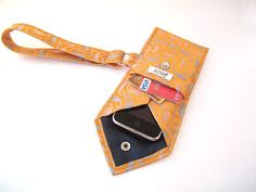 Recycled Necktie Cell Phone Wristlet Orange Blue White Pouch (iPhone HTC Droid Blackberry Samsung Smartphone iTouch iPod MP3 or Camera Case)