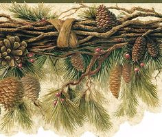 DIE CUT PINE CONES NEEDLES ON BRANCH COUNTRY Wallpaper bordeR Wall