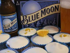 The Bitchin' Kitchin': Blue Moon Cupcakes -- with orange cream cheese frosting!