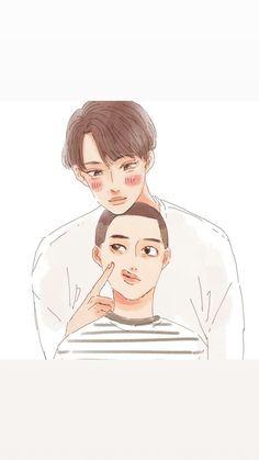 Kaisoo, Kyungsoo, Types Of Boyfriends, Exo Couple, Exo Fan Art, Kpop Fanart, Types Of Art, Cute Drawings, Manga