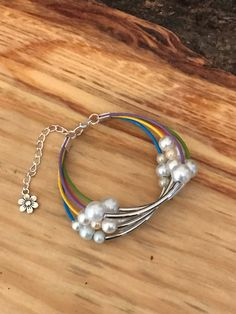 Multi-color bracelet with pearls and silver, summer bracelet, pearls, flower by designbyafney on Etsy