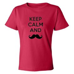 Mashed Clothing Keep Calm  Mustache Women's T-Shirt (Red Medium)