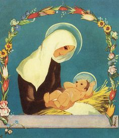 Antique Christmas, Vintage Christmas Cards, Holiday Cards, Christmas Manger, Heart Songs, Blessed Mother, Mother Mary, Old Toys, Our Lady