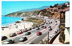 Postcard of PCH at Pacific Palisades, c 1950's.