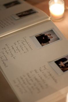 Polaroid camera next to wedding guestbook. The guests snap a pic and then stick it to the page and write their note to you! Love this idea!