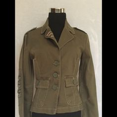 Plugg Jacket Military green Plugg  jacket size small. This jacket has beautiful detail pink stitching and satin patches on both arms. Plugg Jackets & Coats