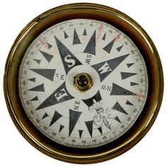 Nautical compass English manufacture middle of the XIX century HEIGHT: 1.57 in. (4 cm) DIAMETER: 2.76 in. (7 cm) | From a unique collection of antique and modern nautical objects at https://www.1stdibs.com/furniture/more-furniture-collectibles/nautical-objects/