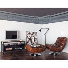 Meuble TV à roulettes en métal et bois de sheesham massif noir L ...