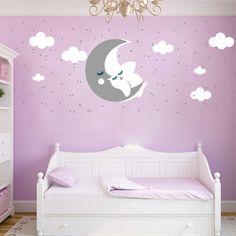 New Wandtattoo Kinderzimmer Mond und Stern Sticker