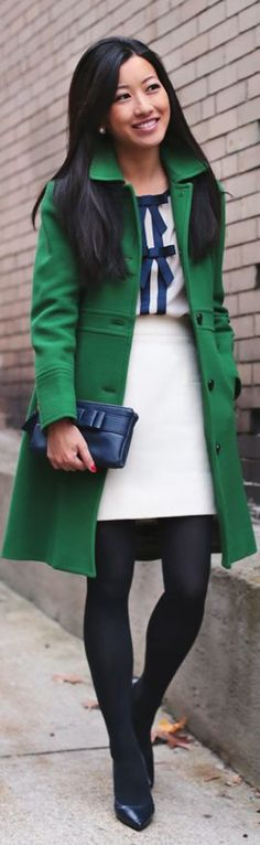 Street fashion for Fall...This is Beautiful **navy AT top w/gold bow+ white AT pants+ navy or black pumps+ green coat