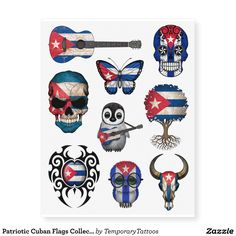 Patriotic Cuban Flags Collection Temporary Tattoos