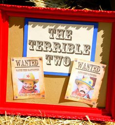 cowboy themed terrible twos western second birthday party for two boys wanted invitations