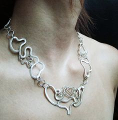 Dancing Clouds Freeform Chain Necklace by BlueSunflowerStudio