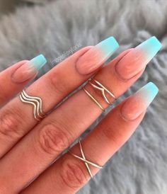 ombre acrylic nails coffin discovered by Dreams come True red coffin nails ombre - Coffin Nails Turquoise Acrylic Nails, Best Acrylic Nails, Summer Acrylic Nails, Bright Summer Nails, Nail Summer, Nails Summer Colors, Nail Ideas For Summer, Plain Acrylic Nails, Bright Acrylic Nails