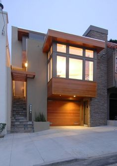Want to Add Door,contemporary Bay Window for Exterior Design? -  Entry,  Slate Staircase,  Ceiling Lighting,  Grey &  Stair