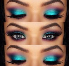 Turquoise and purple makeup