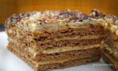 The original recipe Marlenka (hony cake) Sweets Recipes, Cooking Recipes, Delicious Desserts, Yummy Food, Sweet Bakery, Hungarian Recipes, Sweets Cake, Vegan Treats, Party Desserts