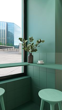 Behance :: Editing Neutral interior with a green accent. Coffee Shop Interior Design, Coffee Shop Design, Cafe Interior, Cafe Design, Space Interiors, Office Interiors, Colorful Interiors, Glass Structure, Colourful Buildings