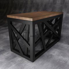 Стол в стиле LOFT с ассиметричным геометрическим дизайном подстолья - Гренада (чёрное основание)