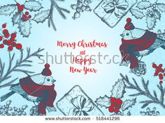 Christmas greeting card or invitation design. Vintage background with needles, cones, fir and bird. Xmas cute bird dressed in scarf and cap. Linear graphic. New year vector illustration.