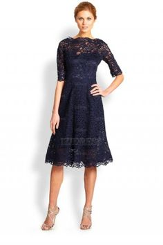 Sheath/Column Bateau Lace Tea-length Evening Dresses - IZIDRESSBUY.COM at IZIDRESSBUY.com