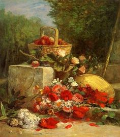 Flowers and Fruit in a Garden - Eugène-Louis Boudin - The Athenaeum