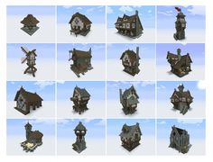 A full downloadable set of medieval structures from planetminecraft.com, including simple but well-detailed towers, Tudor-style houses, and a variety of working structures. Some great design ideas in this batch.