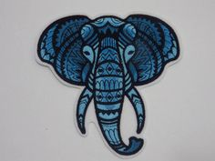 Majestic Blue Elephant Iron On Embroidery Patch MTCoffinz - Choose Size Iron On Embroidery, Embroidery Patches, Embroidery Thread, Sew On Patches, Iron On Patches, Jacket Patches, Elephant Bleu, Mehndi, Embroidered Quilts