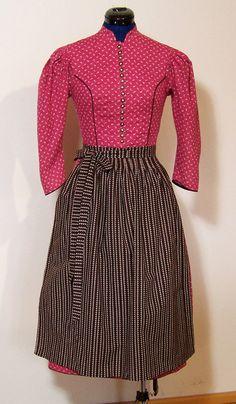 Vintage Trachtenmode - Dirndl mit Schürze, pink, Gr.36/S