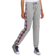 Ali & Kris Juniors' Plaid Side Panel Sweatpants, Women's, Size: Large, Gray