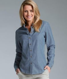Charles River Apparel Style 2327 Women's Button Down Collar Chambray Shirt - SweatshirtStation.com #CharlesRiverApparel #chambrayshirt